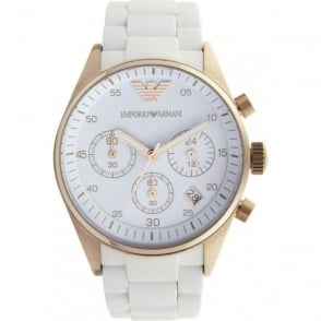 Armani Watches White and Gold Womens Chronograph Watch AR5920