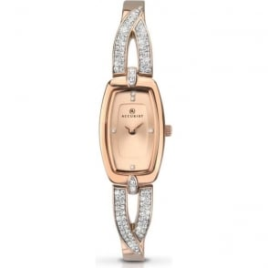 Accurist 8033 Crystals & Rose Gold Slim Stainless Steel Ladies Watch