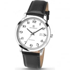 Accurist  7026 Silver Stainless Steel & Black Leather Men's Watch
