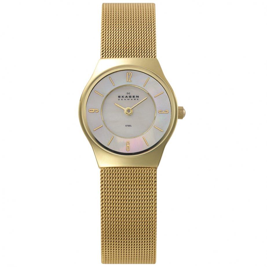 skagen watches 233xsgg gold womens watch buy skagen. Black Bedroom Furniture Sets. Home Design Ideas