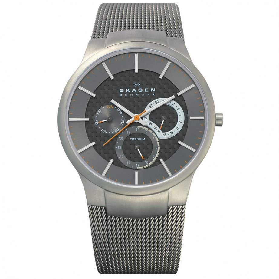 Skagen watches 809xlttm grey titanium mens watch buy skagen steel titanium watch 809xlttm for Titanium watches