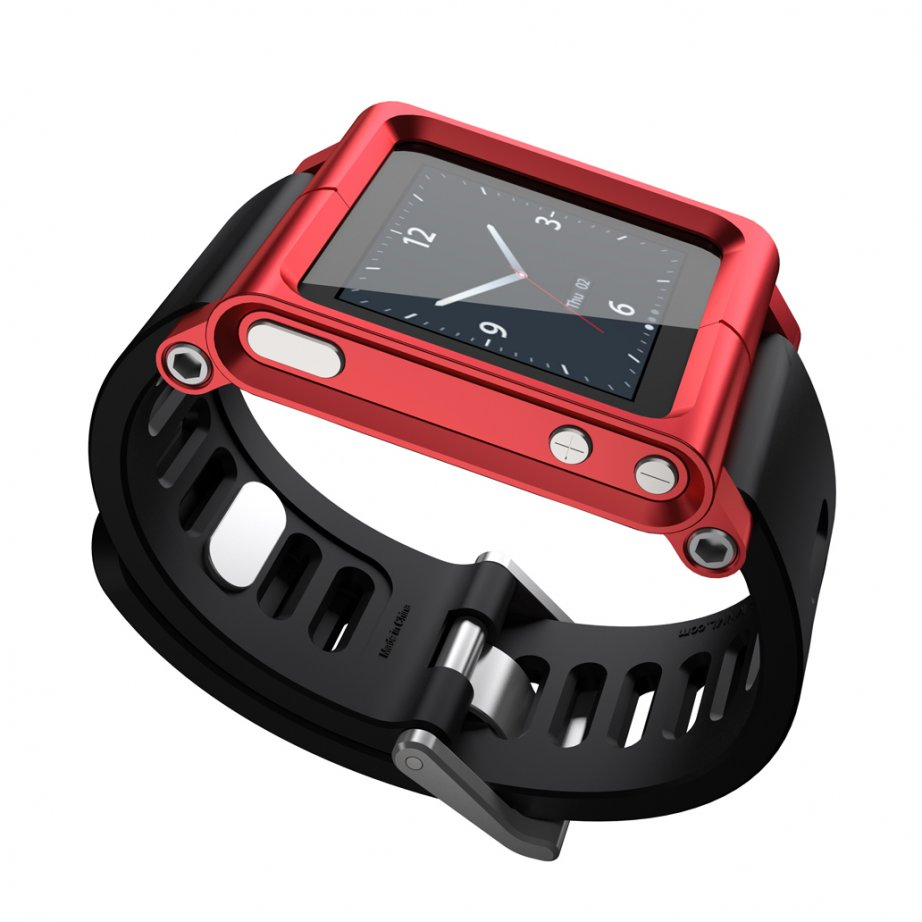 Red LunaTik Watch Strap LTRED-004 for your iPod Nano