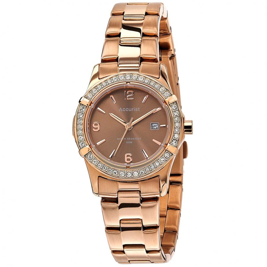 Accurist watches LB1543 Rose gold tone mesh womans watch ...