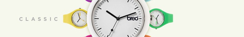 <p>Breo Classic Watches from Tic Watches. The Classic is a unisex fashion watch suitable for men, women and teens. The Breo Classic range is available in 8 bold colours including orange, yellow, pink, blue, purple, green, black and white. The classic watches are a simple watch which feature a circular dial and classic analogue display. The watches come complete in a slim line Breo Watch plastic packaging.</p> <p> </p> <p>Tic Watches are official stockists of Breo Watches so all our Classic Breo Watches come with manufacturers warranty from Breo.</p>