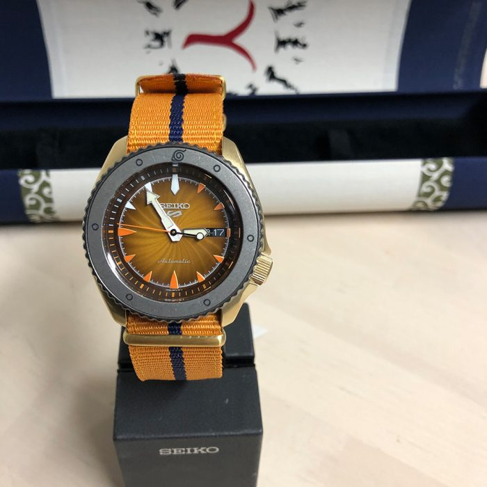Seiko 5 Sport Watch resembling the main protagonist Naruto Uzumaki, from the Naruto series.