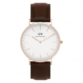 0106DW Classic 40 St Mawes Gents Brown Leather Watch