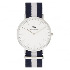 0204DW Classic 40 Nato Glasgow Gents Blue and White Nylon Watch