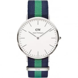 Daniel Wellington 0205DW Classic 40 Nato Warwick Gents Blue and Green Nylon Watch