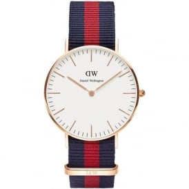 Daniel Wellington 0501DW Classic 36 Nato Oxford Ladies Blue and Red Nylon Watch