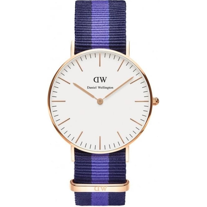 Daniel Wellington 0504DW Classic 36 Nato Swansea Ladies Navy and Blue Nylon Watch