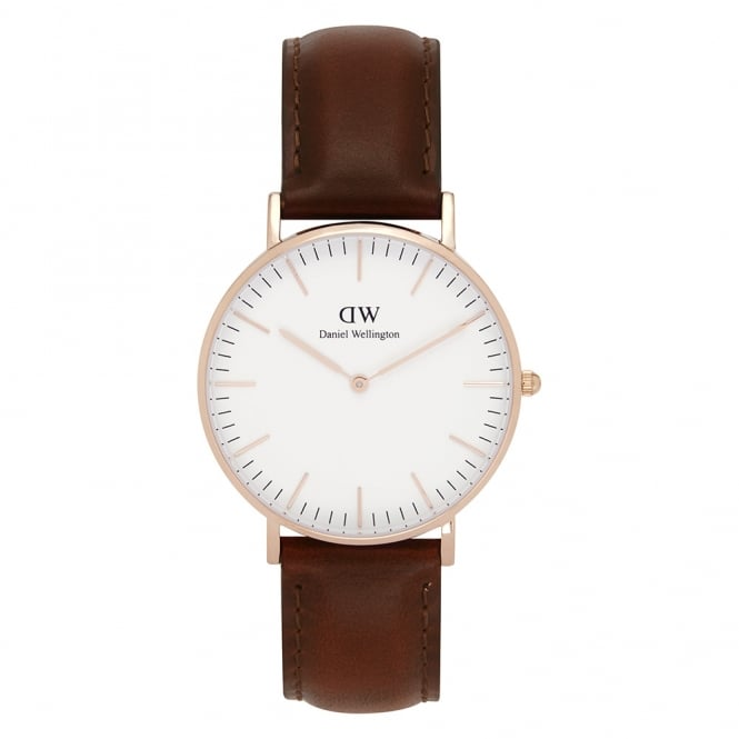 Daniel Wellington 0507DW Classic 36 St Mawes Ladies Brown Leather Watch