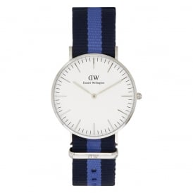 0603DW Classic 36 Nato Swansea Ladies Navy and Blue Nylon Watch