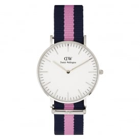 Daniel Wellington 0604DW Classic 36 Nato Winchester Ladies Blue and Pink Nylon Watch