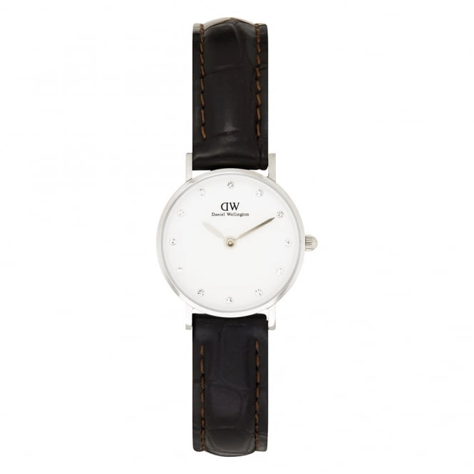 Daniel Wellington 0922DW Classy 26 York Ladies Brown Textured Leather Watch