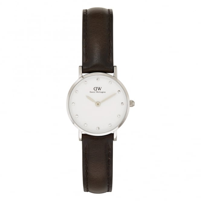 Daniel Wellington 0923DW Classy 26 Bristol Ladies Silver & Brown Leather Watch