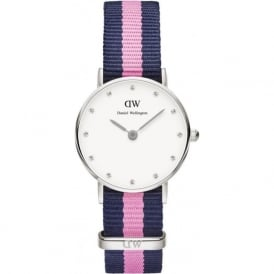 Daniel Wellington 0926DW Classy 26 Winchester Ladies Silver & Nylon Strap Watch