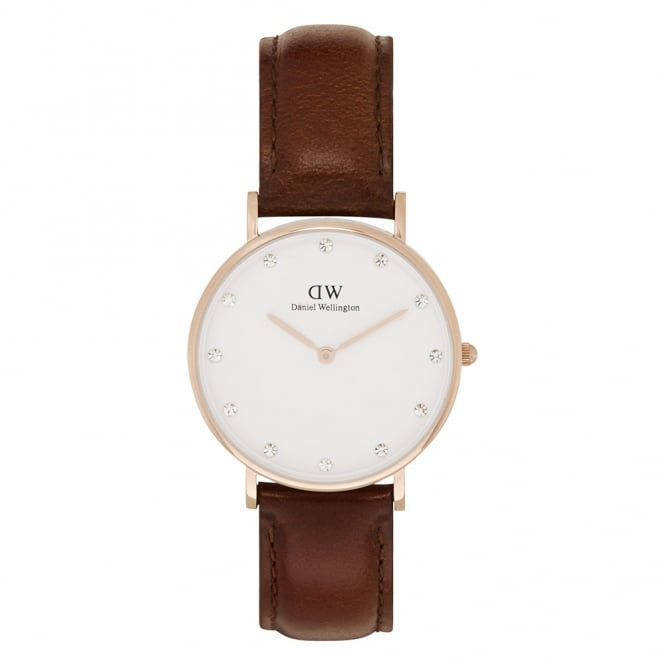 Daniel Wellington 0950DW Classy 34 St Mawes Ladies Brown Leather Watch