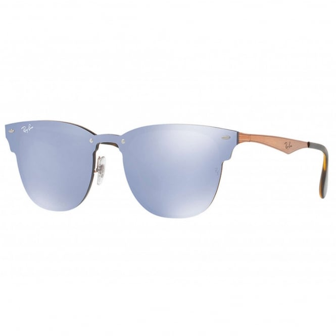 Ray Ban Sunglasses 0RB3576N 90391U 47 Bronze-Copper Violet Mirror Blaze Clubmaster Unisex Sunglasses
