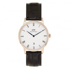 1102DW Dapper 38 York Rose Gold Brown Leather Watch