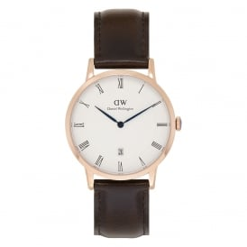1103DW Dapper 38 Bristol Rose Gold & Brown Leather Watch