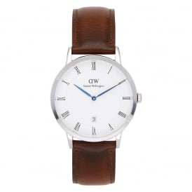 1120DW Dapper 38 St Mawes Silver & Brown Leather Watch