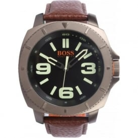 1513164 Grey IP Steel with Brown Leather Strap Mens Watch