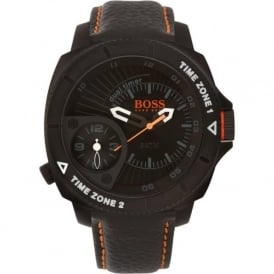 1513221 Black Leather Mens Watch