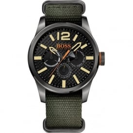 1513312 Black & Green Nylon Men's Chronograph Watch