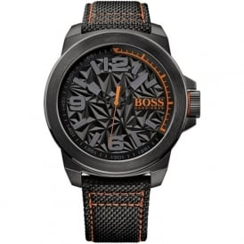 1513343 Black Leather Men's Watch