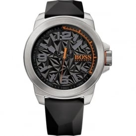 1513345 Silver & Black Rubber Men's Watch