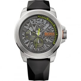 1513347 Silver & Black Rubber Men's Watch