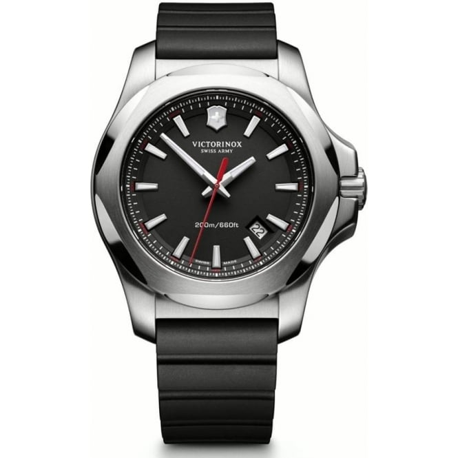 Victorinox Swiss Army 241682.1 I.N.O.X Black Rubber & Steel Swiss Watch
