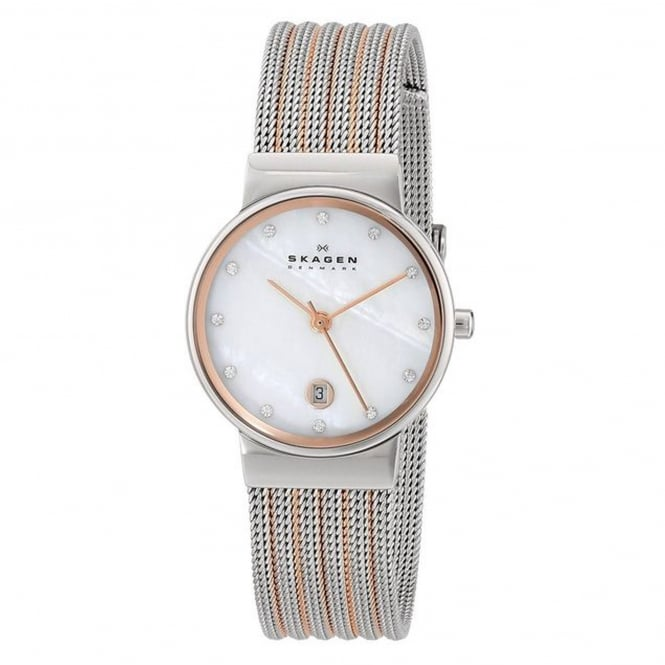 Skagen 355SSRS Ancher Two-Tone Silver & Rose Gold Mesh Ladies Watch