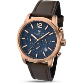 Accurist 7021 Rose Gold & Brown Leather Mens Chronograph Watch