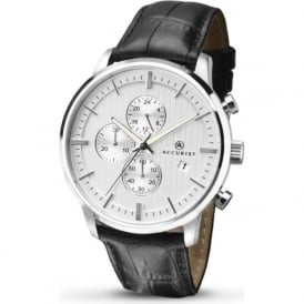 Accurist 7032 Classic Silver & Black Leather Mens Chronograph Watch