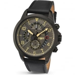 Accurist 7054 Black IP Grey & Black Leather Mens Chronograph Watch