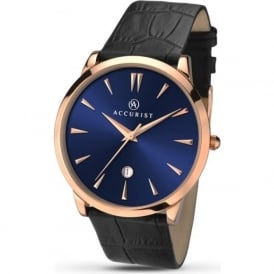 Accurist 7061 Classic Rose Gold & Black Leather Mens Watch
