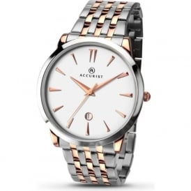 Accurist 7075 Classic Two Toned Silver & Rose Gold Mens Watch