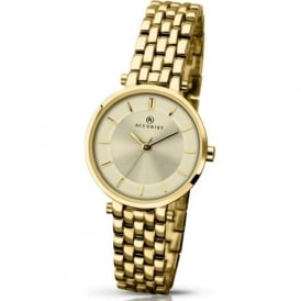 Accurist 8008 Gold Plated Stainless Steel Ladies Watch
