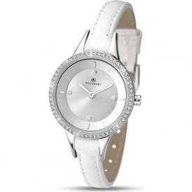 Accurist 8040 Contemporary Silver & While Leather Ladies Watch