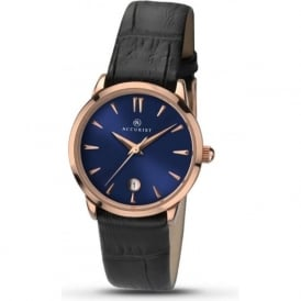 Accurist 8074 Classic Rose Gold & Blue Black Leather Ladies Watch
