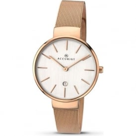 Accurist 8079 Contemporary Rose Gold Plated Metal Mesh Ladies Watch