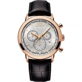 88 Rue Du Rhone 87WA154208 42mm Double 8 Origin Gents White & Rose Gold Brown Leather Chronograph Watch