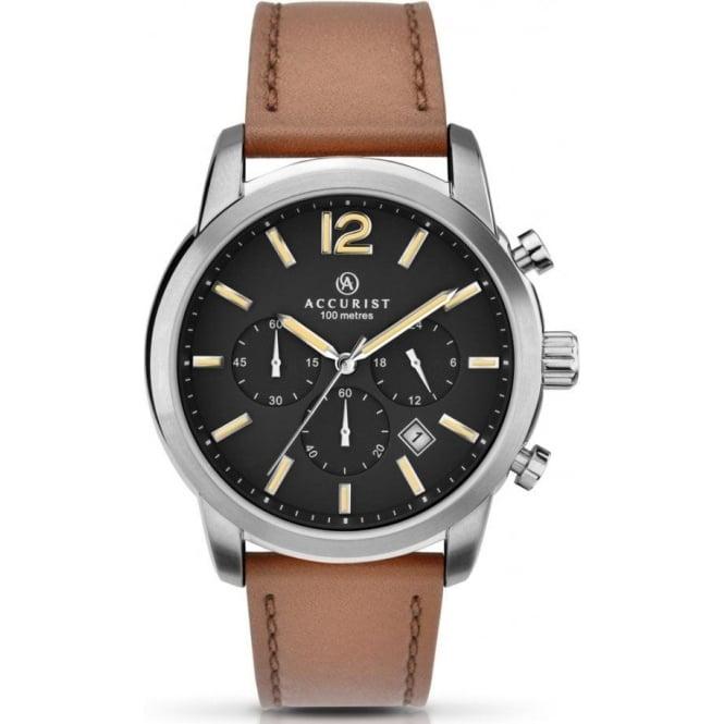 accurist 7020 silver chronograph s mens