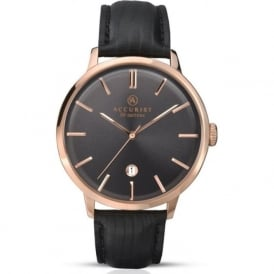 Accurist 7029 Rose Gold & Black Leather Men's Watch