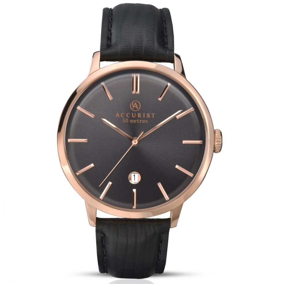 accurist 7029 rose gold black leather men 39 s watch. Black Bedroom Furniture Sets. Home Design Ideas