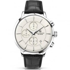 Accurist 7033 Silver Stainless Steel & Black Leather Men's Chronograph Watch