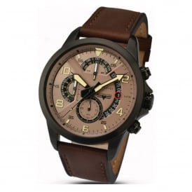 Accurist 7053 Black Steel & Brown Leather Men's Chronograph Watch