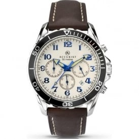 Accurist 7055 Silver Stainless Steel & Brown Leather Men's Chronograph Watch