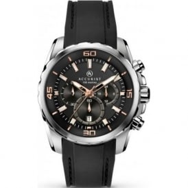 Accurist 7060 Silver Stainless Steel & Black Rubber Chronograph Watch